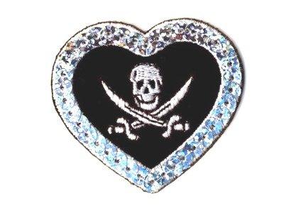 Herz Totenkopf Skull Pailletten schwarz zum Aufbügeln