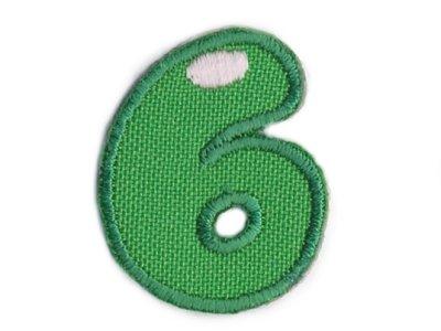 """Applikation Zahl """"6"""" zum Aufbügeln o. Kleben grün"""