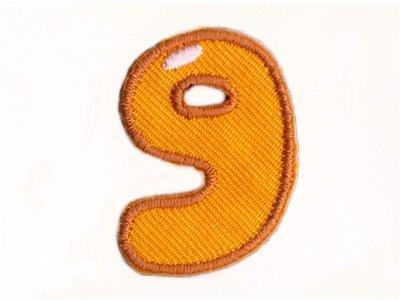 """Applikation Zahl """"9"""" zum Aufbügeln o. Kleben orange"""