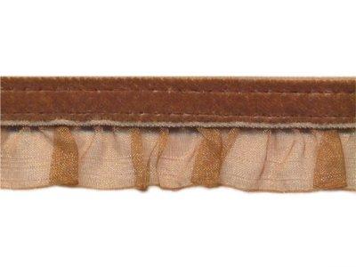 elastische Rüsche Organza mit Samtband hellbraun Glitze