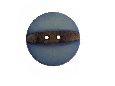 Echt Steinnuss, Runder Knopf blau 21 mm