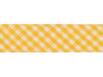 Schrägband/Einfassband gefalzt Vichy gelb
