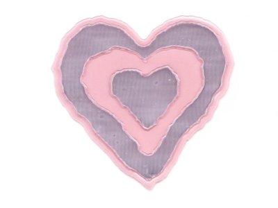 "Applikation ""Herz"" gummiert rosa metallic z. Aufnähen"
