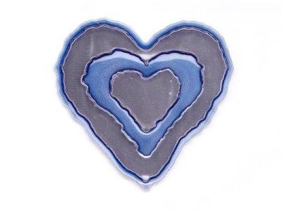 """Applikation """"Herz"""" gummiert blau metallic z. Aufnähen"""
