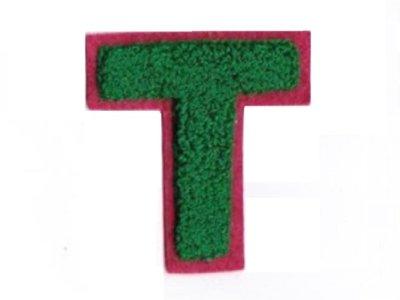 """Applikation """"T"""" grün zum Aufnähen"""