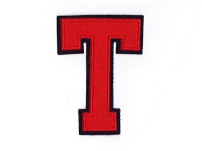 """Applikation """"T"""" rot zum Aufnähen"""