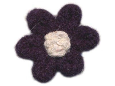 Häkelblume aus Wolle Ø 32mm z. Aufnähen nachtblau
