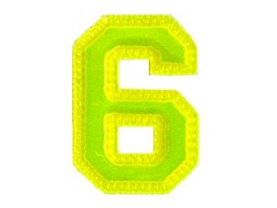 "Applikation ""6"" oder ""9"" neongelb"