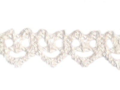 Baumwoll-Klöppelspitze Herzen 15mm weiß