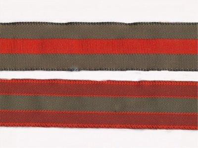 gestreiftes Band 20mm beiseitig verwendbar olive-rot
