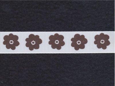 Riley Blake Ripsband Flower weiß-braun 16mm