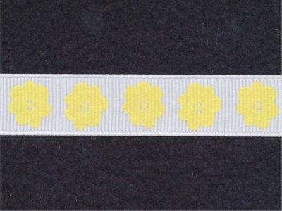 Riley Blake Ripsband Flower weiß-gelb 16mm