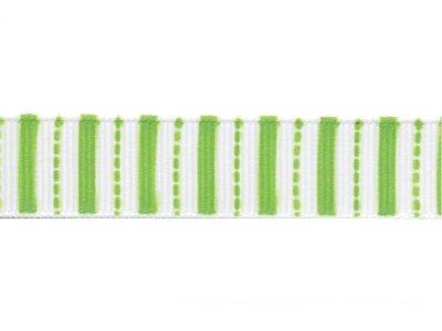 Riley Blake Ripsband Stripes weiß-grün 16mm