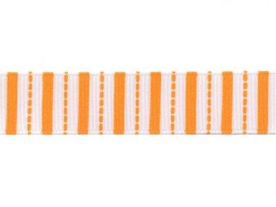 Riley Blake Ripsband Stripes weiß-orange 16mm