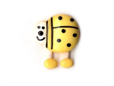 Knopf Marienkäfer mit Wackelbeinen 15 mm gelb