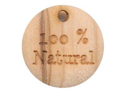 """Zieranhänger """"100% Natural"""" 18 mm aus Holz"""