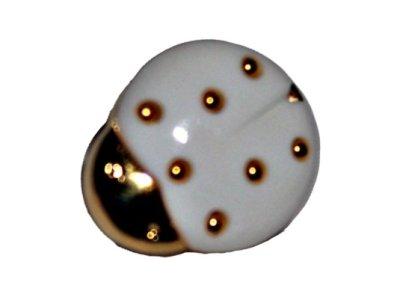 Knopf 15 mm Marienkäfer weiß