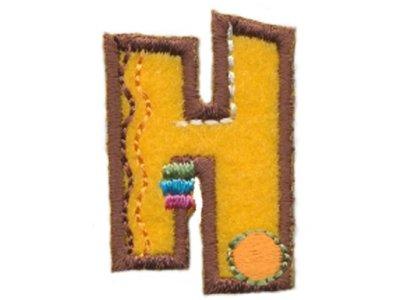 """Applikation Buchstabe """"H"""" gelb zum Aufbügeln"""