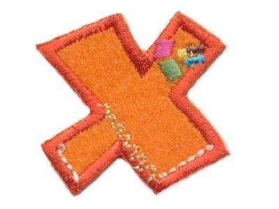 """Applikation Buchstabe """"X"""" orange zum Aufbügeln"""