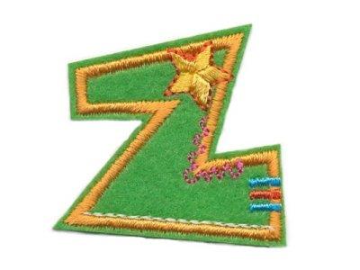 """Applikation Buchstabe """"Z"""" grün zum Aufbügeln"""