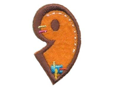 """Applikation Zahl """"9"""" orange zum Aufbügeln"""