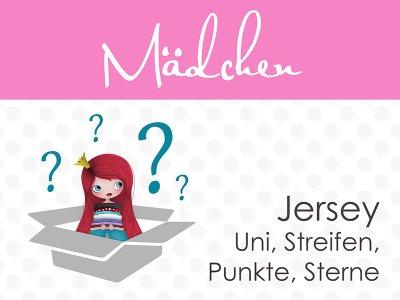 Überraschungspäckchen Mädchen Jersey 4,5m Uni, Streifen, Punkte, Sterne