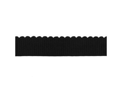 Gummiband elastisch 40 mm - Wellenkante - uni schwarz