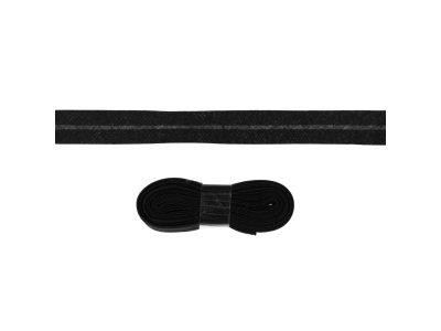 Schrägband/Einfassband Baumwolle gefalzt 20 mm - 3 m Coupon - uni schwarz