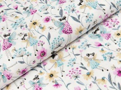 Popeline Hilco Adelita - Feen und Blumen - weiß/lila