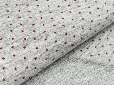 Strick-Jersey Hilco - Stars - meliert grau/rot