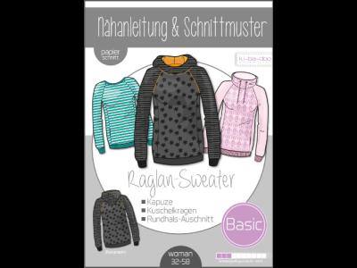Papierschnittmuster ki-ba-doo BASIC Raglan Sweater Damen