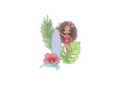 Jersey Digitaldruck Stenzo PANEL ca. 75 x 150cm - Aloha Mädchen - rosa/weiß