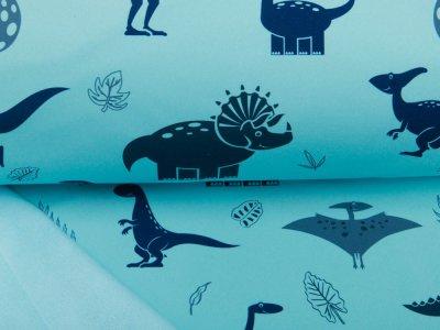 Softshell Jackenstoff Aquarell Gulf Stream - verschiedene Dinos und Blätter - mint