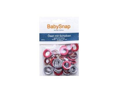 Baby Snap Ösen mit Scheiben - 20 Stück/11mm - rot