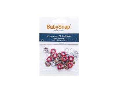 Baby Snap Ösen mit Scheiben - 20 Stück/5 mm - rot