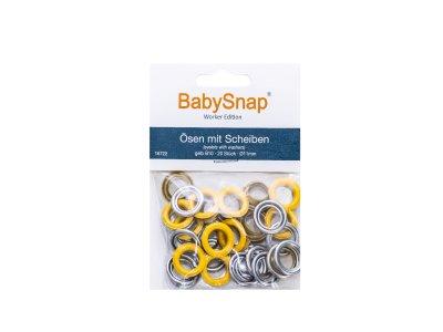 Baby Snap Ösen mit Scheiben - 20 Stück/11mm - gelb