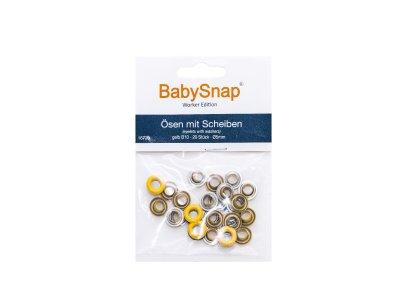 Baby Snap Ösen mit Scheiben - 20 Stück/5 mm - gelb