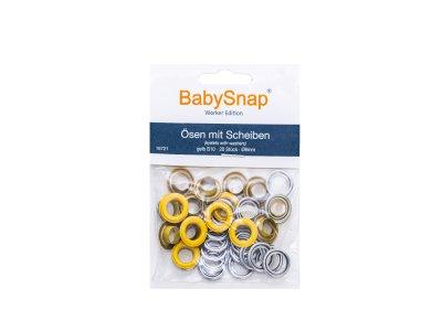 Baby Snap Ösen mit Scheiben - 20 Stück/8 mm - gelb