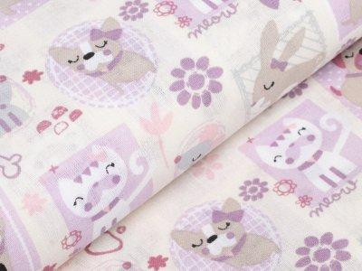 Französische Webware Baumwolle - verschiedene Haustiere - rosa
