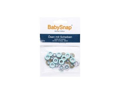 Baby Snap Ösen mit Scheiben - 20 Stück/5 mm - mint