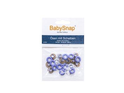 Baby Snap Ösen mit Scheiben - 20 Stück/5 mm - flieder
