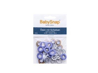 Baby Snap Ösen mit Scheiben - 20 Stück/8 mm - flieder