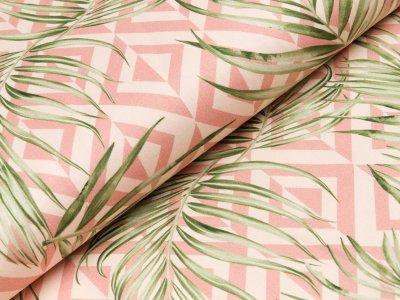 Leicht elastische Webware Hilco Palmiera - Palmenblätter auf Rauten - nuderosa