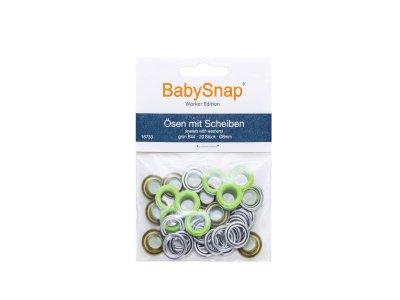 Baby Snap Ösen mit Scheiben - 20 Stück/8 mm - lime