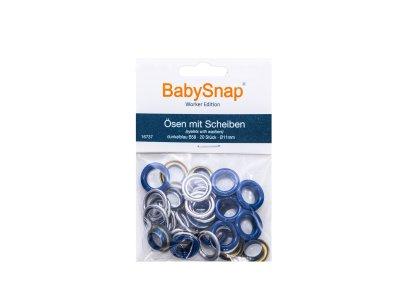 Baby Snap Ösen mit Scheiben - 20 Stück/11mm - marine