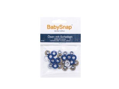 Baby Snap Ösen mit Scheiben - 20 Stück/5 mm - marine