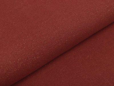 Glattes Bündchen im Schlauch 70 cm mit Glitzerfäden - uni dunkles lachs/goldfarben