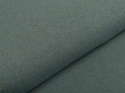 Glattes Bündchen im Schlauch 70 cm mit Glitzerfäden - uni altmint/goldfarben