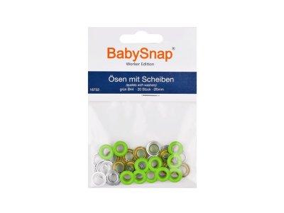 Baby Snap Ösen mit Scheiben - 20 Stück/5 mm - grün