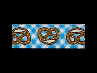 Webband 15mm - Brezeln auf Karomuster - blau